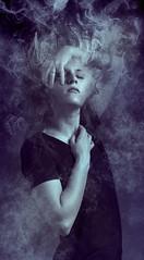 Turbulence (Thrashing Coyote Photography) Tags: self portrait selfportrait manipulation photoshop smoke debris conceptual depression change turbulent
