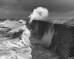 Water, water everywhere but not a drop to drink (whistlingtent) Tags: storm sea tynemouth northpier northsea waves spray foam seaside blackandwhite mono dramatic lighthouse