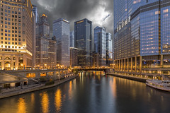 Stormy Riverwalk (player_pleasure) Tags: chicago chicagoist chicagoriver canon trumptower trump kemper riverwalk storm stormclouds architecture
