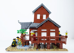 Tabashii's Tea House - Right (Cuahchic) Tags: lego foitsop japan cha teahouse skudae landsofroawia loreos culture moc build wooden timber tree minifig mongols