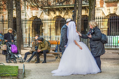 bystanders (albyn.davis) Tags: wedding bride groom photographer gown dress white fashion people street onlookers park bench arches architecture couple romance paris france europe