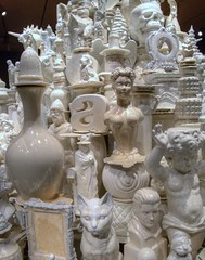 white porcelain (JoelDeluxe) Tags: smithsonian sackler gallery waltermcconnell monumental porcelain sculptures ceramics vessels unsustainable luxury materialism conspicuous consumption white bronze pottery stacks washington dc mall museum joeldeluxe