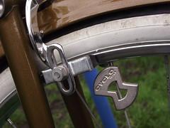 Truing the Wheel (cycle.nut66) Tags: wheel bicycle cycle brake caliper tyre white wall block spokes mudguard raleigh metallic bronze fuji fujifilm s1800 esquire
