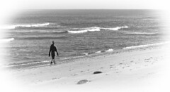 A Winter Walk (brucetopher) Tags: beach waves water ocean sea wind cold winter walk walking stroll stride hike exercise healthy strong mind woman people person shadow silhouette crest break surf sun wet sand wetsand rocky sandy cove tide lowtide saltwater black white blackandwhite bw blackwhite monochrome contrast tone tones