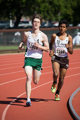 Kent wearing down the competition in the DMR (Malcolm Slaney) Tags: 2017 dmr distancemedleyrelay stanfordinvitational track trackandfield