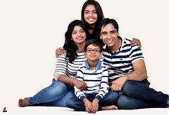 Family Pic (rajnishjaiswal) Tags: portrait family girl boy husband wife son daughter strobe whitebackground stripes blue white smiling
