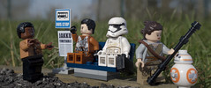 Why does everyone want to go back to Jakku? (tomtommilton) Tags: lego toy toyphotography macro starwars theforceawakens jakku bus stop humour funny cinematic movie outdoors nature stormtrooper finn poe rey bb8