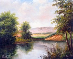At the Water's Edge, Art Painting / Oil Painting For Sale - Arteet™ (arteetgallery) Tags: arteet oil paintings canvas art artwork fine arts nature river water tree landscape green sky summer grass forest blue beautiful cloud scenic landscapes impressionism lakes rivers white paint