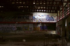 Abandoned Building (Morgan Riddiford) Tags: abandoned building derelict isolated damp dark sinister growth decay degradation nature industrial light dust dirt environment space land neglect human static frozen time age regression transformation unstable decomposing broken shattered unloved destroyed desolate cold