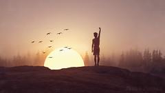 Moning Goal. (worldwideshubham) Tags: sunrise man pose manipulation photoshop creative conceptual surreal fantasy scene sung birds shadow trees mountain achieve morning
