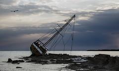 Abbanndono (nicolamarongiu) Tags: sea sealing mare relitto barca calasetta sardegna sardinia sunset colori color abbandoned solitary