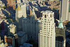 NY County Supreme Court, Thurgood Marshall United States Courthouse, Manhattan Municipal Building, Emigrant Industrial Savings Bank and Surrogate's Courthouse (aka Hall of Records), Woolworth Building and 30 Park Place (aka 99 Church Street) - view from O (SomePhotosTakenByMe) Tags: nycountysupremecourt court gericht thurgoodmarshallunitedstatescourthouse courthouse manhattanmunicipalbuilding emigrantindustrialsavingsbank bank wtc 1wtc oneworldtradecenter worldtradecenter oneworldobservatory observatory aussichtsplattform freedomtower observationdeck lowermanhattan financialdistrict downtown innenstadt urlaub vacation holiday usa unitedstates america amerika nyc newyorkcity newyork stadt city wolkenkratzer skyscraper gebäude building indoor architektur architecture 30parkplace 99churchstreet