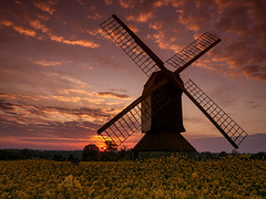 Stevington Windmill at Sunrise 01 (Donnie Canning) Tags: wwwdonniephotographycouk donnie donniecanning em10 olympus olympusomdem10 microfourthirds photography photo photographer 2017 lens canning sky skyline cloud sun outdoor landscape land ground foreground nature naturalworld view vista photo52 project photoaweek theme bedford bedfordshire england uk twilight orange architecture building omd walking rambling exploring explore walk solitude countryside country dawn yellow rapeseed field sunrise windmill stevington sails morning april