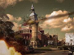 albert clock barnstaple (kapper22) Tags: doom clock outdoors explosion cars meteor broken photoshop fun manipulation