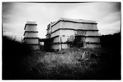 Bomb Shed (stoneleighboy) Tags: dereliction forgotten scotland history secret urbex nobel nikon ayrshire mono blackandwhite filmeffect