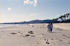 Beach Walkers (edwardconde) Tags: lifeguard film minolta c200 x570 fujicolor200 california santabarbara c41 carpinteria self processed aristac41kit
