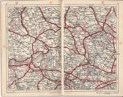 Circa 1930 English Roads at a Glance (messy_beast) Tags: 1930 map cycliat motorist hiker golfer roadmap essex bedfordshire buckinghamshire berkshire suffolk cambridgeshre