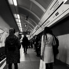 Wednesday, PM; Delayed (Darryl Scot-Walker) Tags: london underground tube publictransport commuters commuting station streetphotography street covert fuji x100t