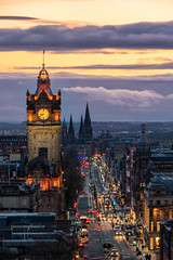 A stream of light (hajnalkaberenyi-kiss) Tags: sunset edinburgh scotland cityscape citylights princesstreet hill view city