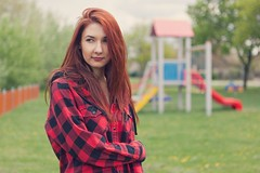 Z. (biely vlk) Tags: woman kid playground outdoor redhead nature life portrait flickr jacket love canon eos 5d mark ii