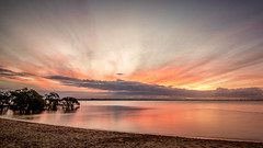 Sunset on the Beach (g0rsty) Tags: cloudsstormssunsetssunrises clouds sky sunsetsandsunrisesgold sunset sea slowshutteronwater water weather waterreflections