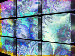 The Glass Wall ..... (Elisafox22 Still recovering from Shingles!) Tags: elisafox22 sliderssunday hss pattern abstract glasswall glass fractals glassblocks black blue designs texture textures photoshop postprocessing textured photomanipulated elisaliddell©2017 artdigital