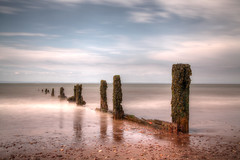 Dream a little dream (Julian Pett) Tags: uk england sky sun seascape beach water clouds bristol sand long exposure waves break blu wave somerset anchor waters groyne hdr defence groin breakwater groynes groins breakwaters