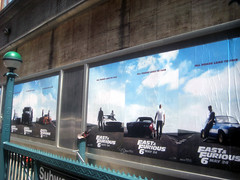 Fast and Furious 6 Billboard ADs  0229 (Brechtbug) Tags: new york city nyc urban 6 cinema cars up car racecar work painting movie poster square this drive smash paint theater driving all action crash near working fast racing billboard advertisement chase billboards worker roads em six lead herald furious 2013