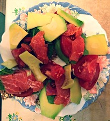 (Nina_Fedoseeva) Tags: cheese dinner avocado tomatoes salmon goat crisps late spinach uploaded:by=flickrmobile flickriosapp:filter=nofilter
