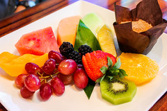 Fruit Platter (KatieFuji) Tags: orange fruits hawaii healthy strawberry hilton watermelon delicious foodporn grapes dining muffin kiwi waikoloa