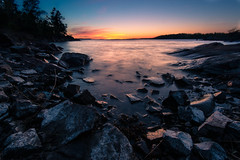 Sunset at the deep bay (Jens Sderblom) Tags: longexposure sunset seascape night landscape nikon sweden sverige bluehour scandinavia archipelago maj d800 vr landskap skrgrd skrgrden roslagen sing stockholmsskrgrd bltimmen lngexponering nikon1635 singfjrden