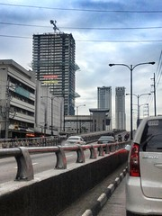 Shaw Flyover (Xtian Bederico) Tags: street urban tower skyline corporate drive construction asia metro philippines center manila lancaster shaw adb ortigas bdo mandaluyong citiland