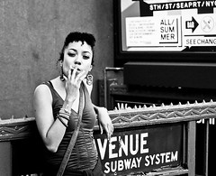 Kristina at the 4th Street Subway Station (proof_by_contradiction) Tags: street nyc portrait woman newyork subway fav50 cigarette candid greenwhichvillage fav25 fav75