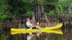Scott by Cypress knees.2 (superfranny) Tags: camping lake water louisiana kayak bass marion bayou finch kayaking monroe cypresstrees cypresstree nwr baldcypress reflecitions finchlake unionparish upperouachita