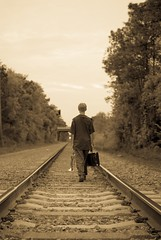 So Long (WD Quiroz) Tags: railroad man sony trumpet blues goodbye youngman a300