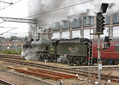 46115 'Scots Guardsman' leaves York on the 'Scarborough Spa Express'. 27 August 2013 (ricsrailpics) Tags: york uk steam preservation 460 scarboroughspaexpress 2013 exlms royalscotclass