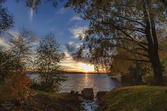 Fall colors, colorful sunset (penttja) Tags: autumn sunset lake fall colors finland landscape colorful arboretum tampere settingsun pyhjrvi