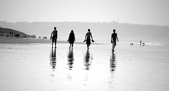 Four Walkers in Mono - Explore 25.10.13 (Peaf79) Tags: summer people blackandwhite reflection beach reflections four mono interestingness interesting explore fourpeople northdevon sauntonsands explored nikond3000 vision:beach=0663