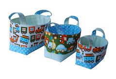 Kit Cestas Ready, Set, Go (Gaby Sartori) Tags: basket carrinho readysetgo trenzinho cestinha fabricbasket cestadetecido moonpatch gabysartori