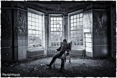 Waiting room ... (sparkeyb) Tags: light blackandwhite bw selfportrait abandoned broken window wet glass hospital mono blackwhite nikon waiting closed decay apocalypse sigma monotone creepy textures urbanexploration nhs gasmask smashed rotten mould peelingpaint 1020mm asylum derelict essex waitingroom shards colchester decaying damp textured apocalyptic crumbling mental mentalhospital selfie urbex mouldy severalls monotonal d7000 silverefex sparkeyb