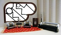Art Deco Living Room (Sir Nadroj) Tags: art scale lamp modern radio chair lego furniture moderne couch chrome streamlined deco modernist streamline minifigure