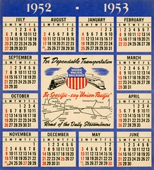 Be Specific, Say Union Pacific (1952) (Alan Mays) Tags: ephemera calendars advertisingcalendars advertising advertisements ads paper printed unionpacific unionpacificrailroad up streamliners railroads railways trains locomotives transport transportation patriotic stars stripes shields red white blue illustrations maps cities slogans logos 1952 1953 1950s antique old vintage typefaces type typography fonts