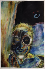 Marilyn (davedehetre) Tags: city usa color eye art watercolor painting paper robot lawrence artwork model raw software kansas strathmore offwhite goggle monocle gemini kcmo 140lb