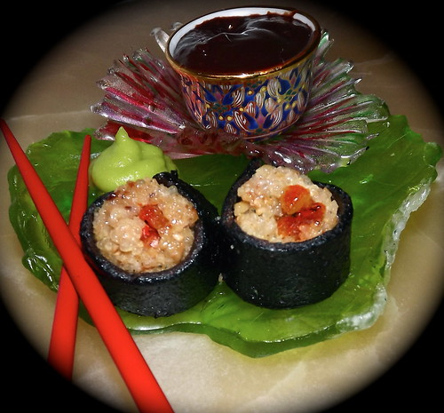 My Winning Food Photo/Descriptive Copy: Quinoa Crunch Dessert Sushi