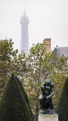 The Thinker and The Eiffel Tower (San Francisco Gal) Tags: muséerodin thethinker sculpture eiffeltower paris fog foggy toureiffel