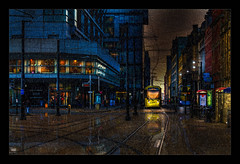 Manchester it does Rain (Kev Walker ¦ From Manchester) Tags: architecture building canon1100d canon1855mm citycentre england hdr lancashire manchester northwest outdoor photoborder transport trams track rain