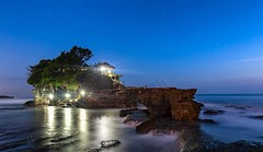 Tanha Lot temple is a rock formation temple in Bali, Indonesia. / /  #bali #indonesia #bluehour #longexposure #sea  #landscape #landscapephotography #natgeoyourshot #natgeotravel  #travel #igtravel #travelphotography #canonphotography #eyeemphoto #viewbug (yogeshgupta4) Tags: travelphotography travel indonesia bali landscapephotography landscape nightphotography longexposure bluehour sunset seascape sea rock temple tanahlot instagramapp
