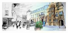 Colmar - Alsace - France - maison des têtes (guymoll) Tags: colmar alsace grandest france croquis sketch aquarelle watercolour watercolor maisondestêtes ruedestêtes panoramique