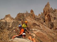 Guided climbing in Refugio Frey, Golden Granite spires