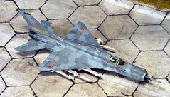 """1:72 Chengdu J-7DH, """"83047 Yellow"""" of the People's Liberation Army, Naval Air Force (PLANAF; 中國人民解放軍海軍航空兵) East Sea Fleet's 4th Fighter Division, 12th Air Regiment; Ningbo AB, 2012 (Whif/kitbashing) (dizzyfugu) Tags: mikoyan gurewich mig21 fishbed cac chengdu j7 copy f16 viper bwb conversion modernized planaf peoples liberation army naval air force 中國人民解放軍海軍航空兵 east sea fleet kit bashing model 172 modellbau dizzyfugu chinese soviet grey pl2 pl11 interceptor fighter"""